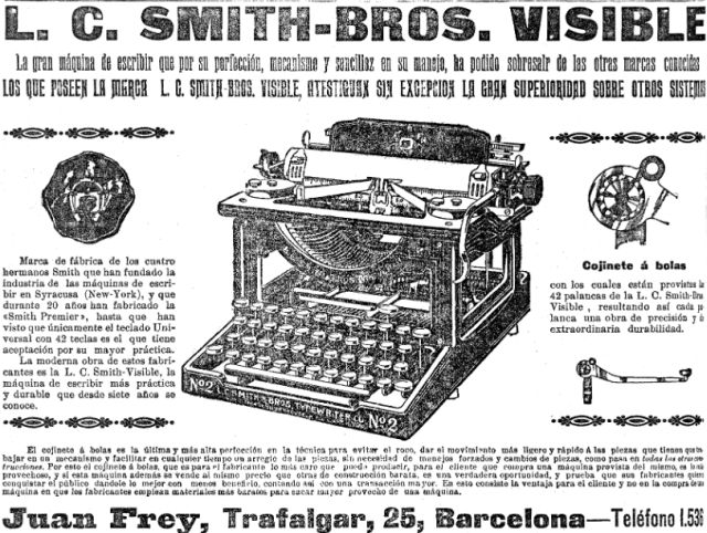 Anunci de la LC Smith visible a La Vanguardia al 1909