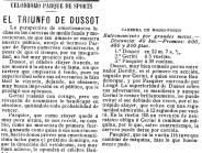 Crònica de la cursa de Dussot al 1909